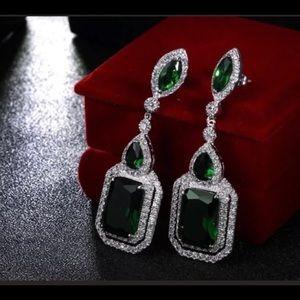 .925 Sterling Silver Emerald Fashion Earrings!